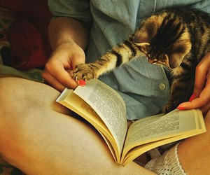 book, girl, and cat image