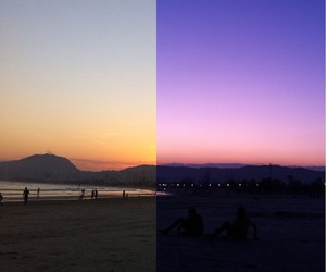 beach, beautiful, and orange image