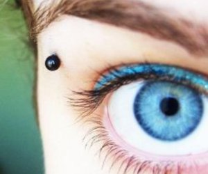 piercing, eyebrow, and blue image