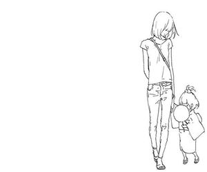 Adult, bw, and children image