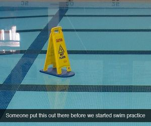 caution, funny, and pool image