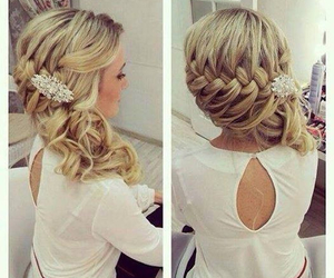 blonde, braided, and hair image