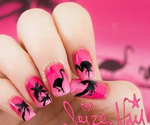 flamingo, nails, and ombre image