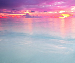 beautiful, ocean, and pink image