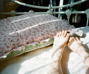 feet, bed, and sun image