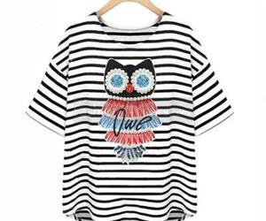 short sleeve, crew neck, and striped image
