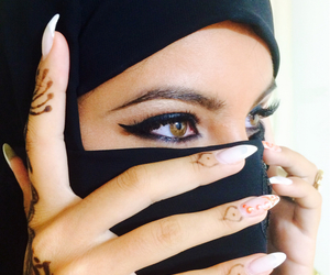 henna, eyes, and hijab image