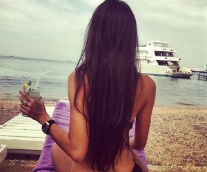 girl, brunette, and beach image