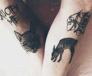 cat, deer, and ink image
