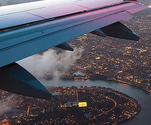 city, travel, and plane image