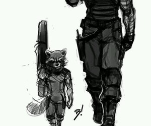 rocket, the winter soldier, and rocket raccon image
