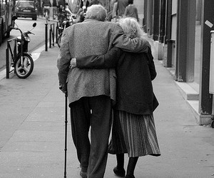 old couple, walk, and love image
