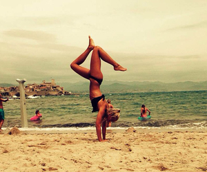beach, funn, and handstand image