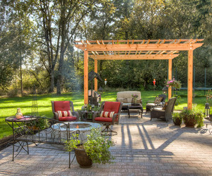 wooden chair, outdoor, and lighting system image