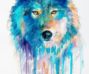 wolf, art, and blue image