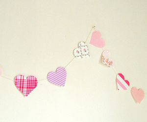 bunting, hearts, and kawaii image