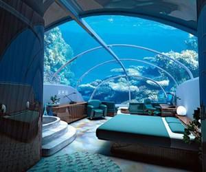 bedroom, room, and sea image