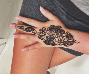 beautiful, hand, and henna tattoo image