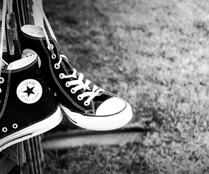 all star, chuck taylors, and grass image