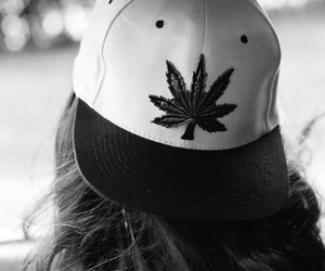 girl, weed, and cap image