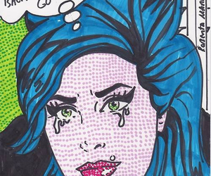 Amy Winehouse, blue, and pop art image