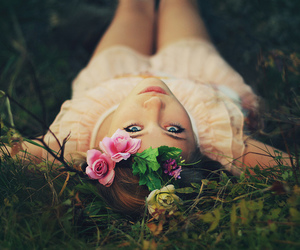 beautiful, flowers in hair, and girl image