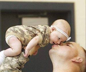 baby, army, and dad image