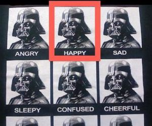 darth vader, happy, and star wars image