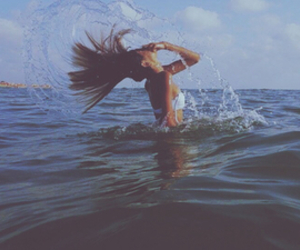 beach, girl, and flipping hair image