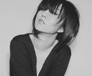 asian, black and white, and cute image