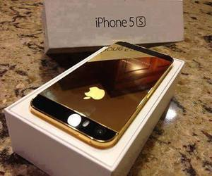 gold, iphone, and love image
