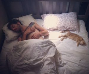 cat, boy, and bed image