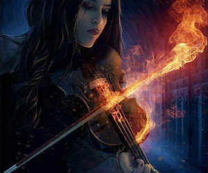 violin, fire, and music image