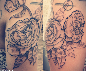 etching, floral, and floral tattoo image