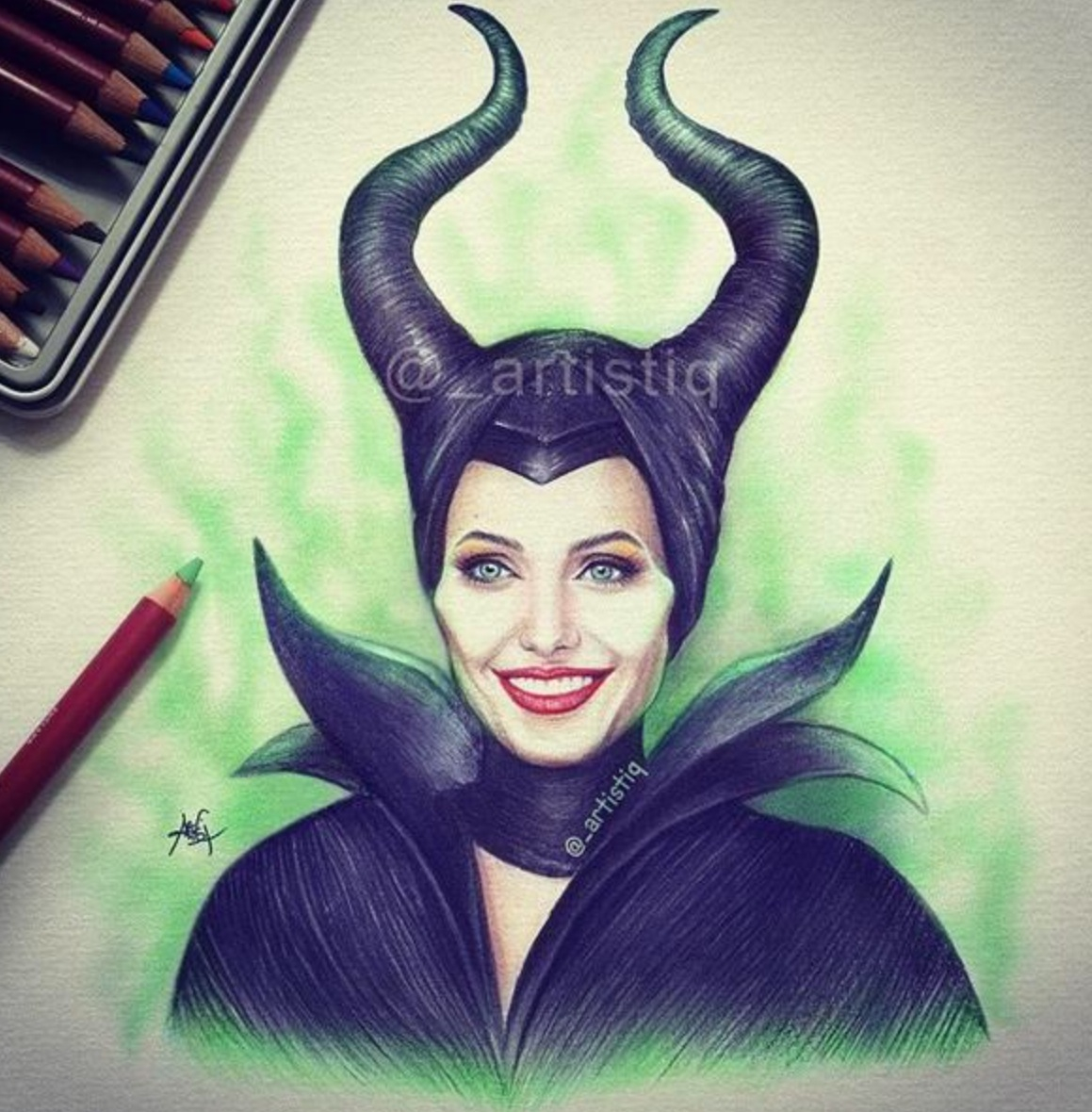 Maleficent drawing by artistiq discovered by dada smile