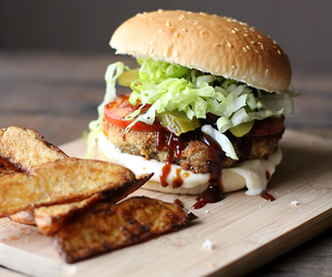 burger, meat, and potato image