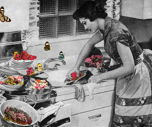 Collage, dishes, and housewife image
