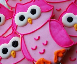 owl, Cookies, and pink image