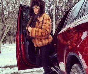 girl, car, and fur image