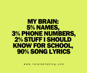 Lyrics, song, and brain image