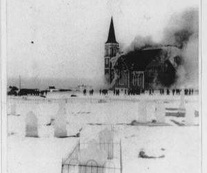 black and white, cemetery, and burning church image