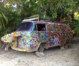 hippie, car, and tropical image