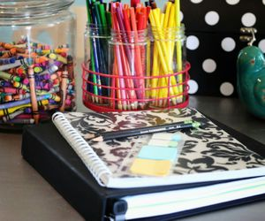 art, desk, and back to school image