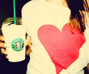 starbucks, heart, and coffee image