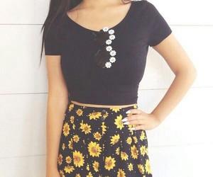 fashion, shorts, and sunflower image