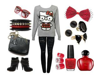 fashion, hello kitty, and nerd image