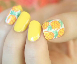 nails, pineapple, and yellow image