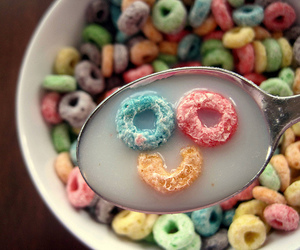 smile, cereal, and breakfast image