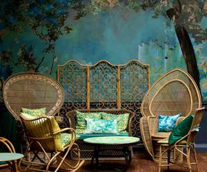 blue, green, and wicker chair image