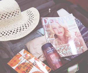 hat, magazine, and packing image